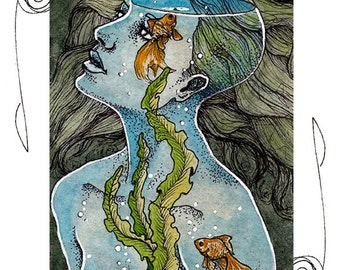 Water Elemental ACEO 2.5x3.5 Print Mini Trading Card Art