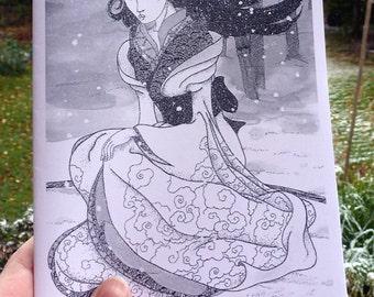 Yuki-Onna Japanese Folk Story Chapbook Zine with Original Illustrations