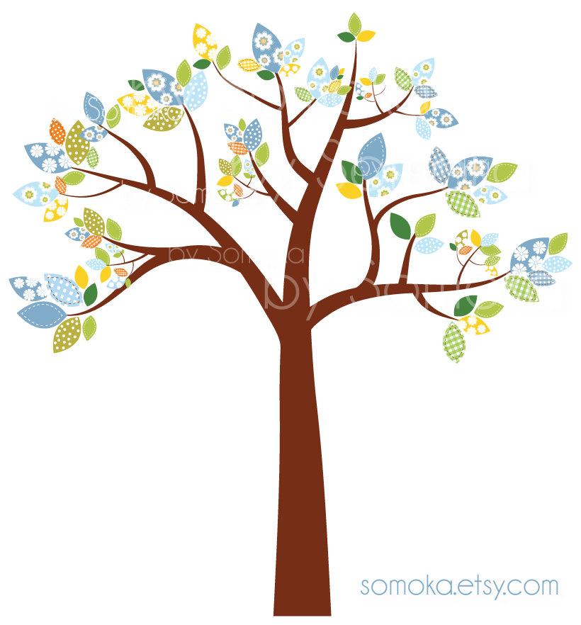Nursery Baby Boy Cute Bird And Tree Clipart Set Etsy