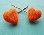SALE  Heart Hair Pins - Needle Felted Bright Orange Wool