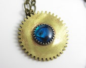 Blue Mother of Pearl in Vintage Brass Gear Necklace