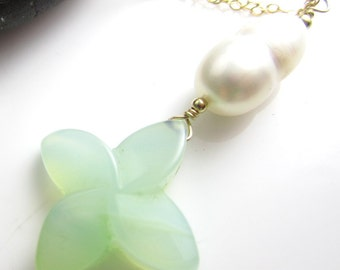 Aqua Chalcedony and Pearl on 14k Goldfill Chain Necklace