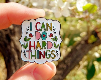 I Can Do Hard Things - enamel pin, college student gift, motivational gifts for women, backpack pins set, rainbow brooch pin