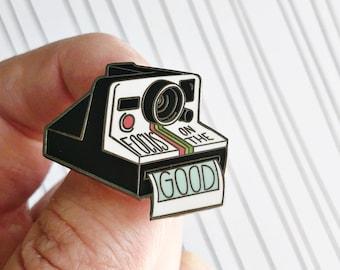 Focus on the Good - Vintage Polaroid Hand-Lettered Enamel Pin