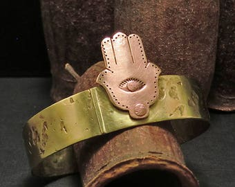 B1583 HAMSA- Brass and Copper Cuff Bracelet