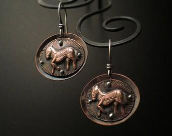 E1514 -SALE 25% off -Prancing Ponies on Copper earrings