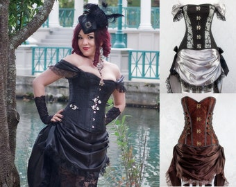 Victorian Gothic Steampunk Costume   Made to Order   Airship Pirate, Goth Steampunk Cosplay, Victorian Corset Dress