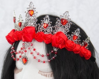 Queen of Hearts Crown   The Red Queen   Red gothic crown, alice in wonderland crown, red rose crown, crystal crown, metal filigree