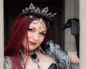 Gothic Beaded Flower Crown | Unseelie | Costume Crown, choose your charm, dragon, unicorn, raven skull, or jet drop