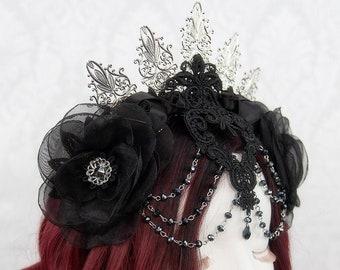 Gothic Bridal Evil Queen Crown   Midnight's Queen   Black Lace Vampire Headband