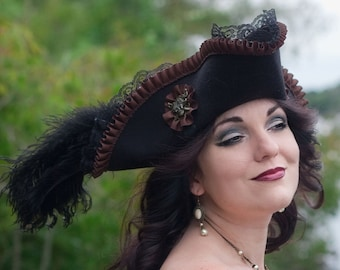 Womens Fantasy Pirate Hat | Lady Buccaneer | Steampunk Pirate Costume Hat