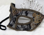 Steampunk Mask | Gaslight Romance | Masquerade Mask, Venetian Mask, Black Lace Mask, Hand Painted, Fairy Masquerade