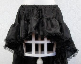 Belladonna Skirt   Black ruffle pirate skirt, high low skirt, sexy costume skirt, Steampunk, Saloon Girl Cosplay, Gothic Skirt