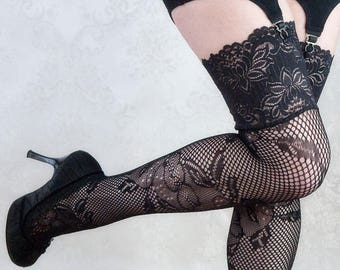 fdbb1b598 Lace Stockings Bella Rosa Sexy Lingerie Thigh High