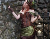 Green Steampunk Costume | Gaslight Romance | Corset Costume, Adult Costume, Gothic Bustle Outfit, Sexy Victorian Dress, Tea Party Costume