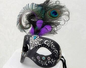 Mardis Gras Mask   Lady Peacock   Masquerade Mask, Venetian Mask, Black Leather Mask, Fairy Masquerade
