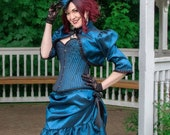 Blue Steampunk Costume| Bella Blue | Steel Boned Bustle Corset Dress, Gothic Victorian Outfit, Tea Party Gown, Blue Wedding Dress