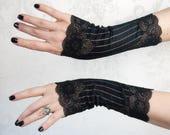 Fingerless Gloves | Steampunk Noir | Black Gloves, Steampunk Gloves, Black Lace Gloves, Gothic Gloves, Womens Black Gloves, Tea Party Gloves