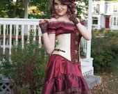 Burgundy Steampunk Dress | Summer Dreams | One of a Kind - High Low dress, Steampunk Cosplay, Mad Tea Party, Off Shoulder Gown