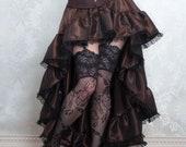 Brown Steampunk High Low Skirt | Airship Minx |  Pirate Ruffle Costume Skirt