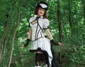White Steampunk Costume| Steampunk Sass | Corset Costume, Sexy Adult Costume, Dark Circus Costume, Lady Tuxedo Dress, Miniskirt Outfit