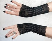 Fingerless Gloves | Steampunk Noir | Black Gloves, Steampunk Gloves, Black Lace Gloves, Gothic Gloves, Womens Black Gloves, Tea Party Gloves