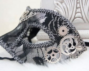 Black and Silver Steampunk Mask   Masquerade Mask, Venetian Mask, Black Lace Mask, Hand Painted, Fairy Masquerade