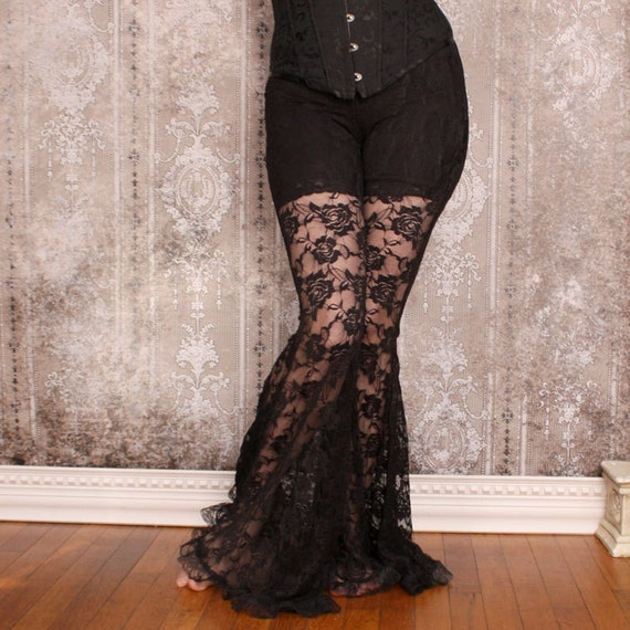 La Rose Gothique Black Lace Belly Dance Pants   Sale by Etsy