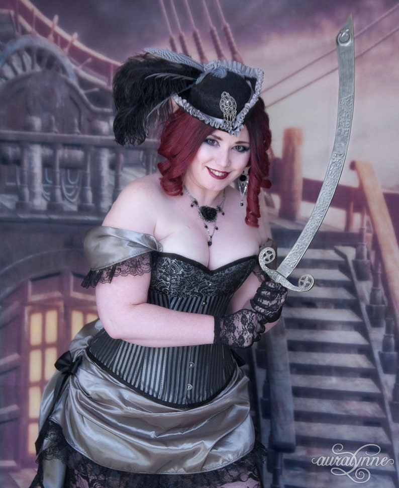 3ce71183021d7 Silver Pirate Costume Lady Buccaneer Plus Size Steampunk