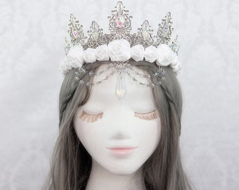 Fairy Tale Crown   The White Queen   White gothic crown, snow queen crown, white rose crown, crystal crown, metal filigree