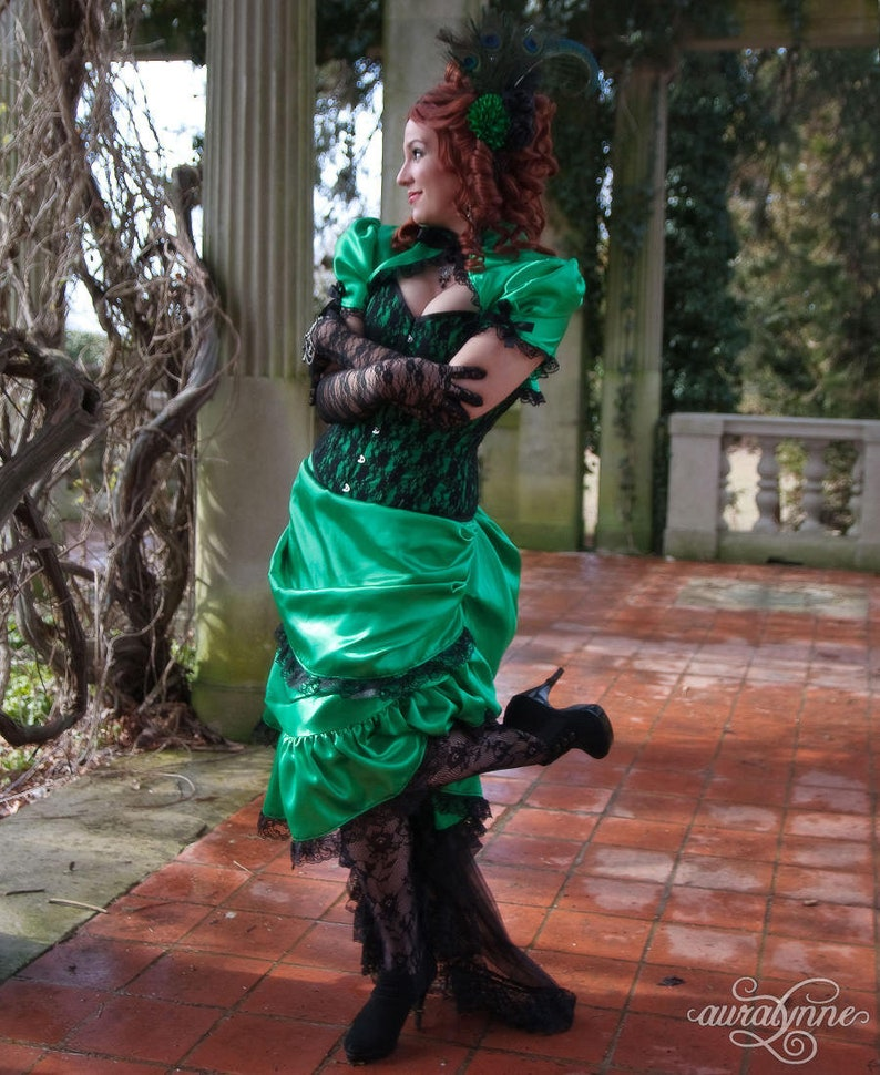 Green Wedding Dress Arsenic and Black Lace Victorian Gown  0fe345d58e5a