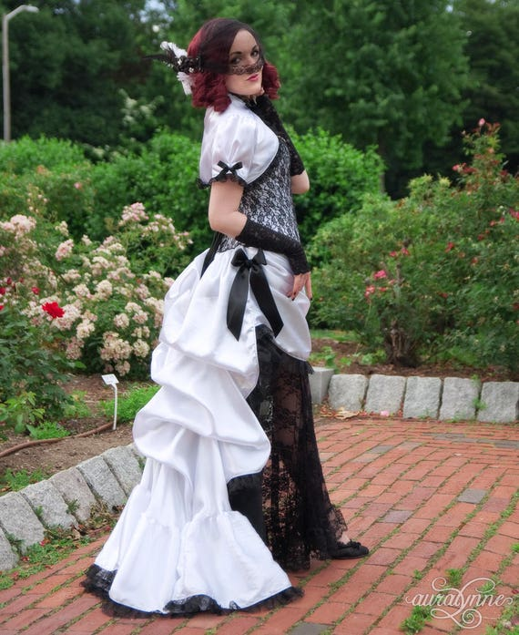 Vintage Style Wedding Dresses, Vintage Inspired Wedding Gowns Victorian Wedding Dress | Lace Temptation | Gothic Wedding Dress Black Lace Wedding Dress Sexy Wedding Dress Black and White Bridal Gown $613.00 AT vintagedancer.com
