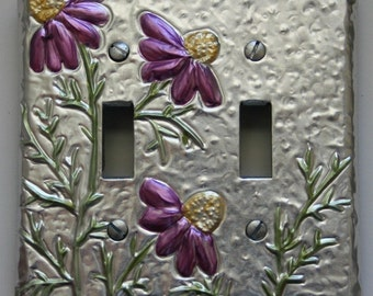 Double Light Switch Cover Silver with Cosmos Flowers