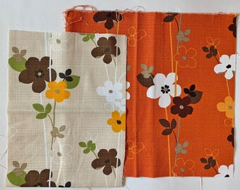 Japanese home decor weight fabric set - retro flowers in orange and natural