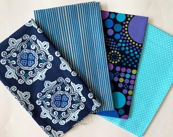 Fat Quarter Bundle - 4 blue fabric