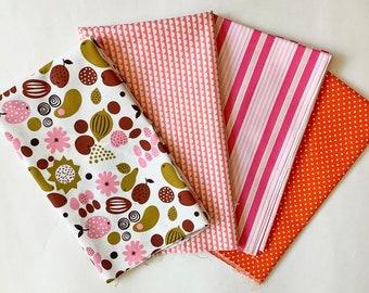 Fat Quarter Bundle - 4 fabric (pink and orange)