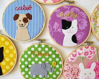 Personalized children's room decor - custom embroidery hoop personalized embroidery cat dog elephant wall decor nursery pastel animal name