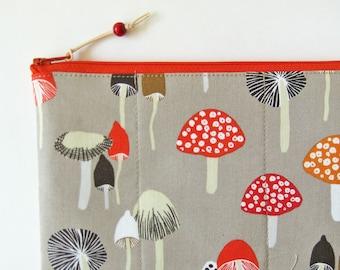 Zipper pouch makeup bag mushrooms gray red mushroom woodland handmade zipper purse padded zipper pouch quilted zipper pouch