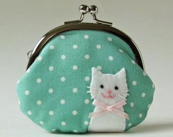 Cat coin purse - mint polka dots, white cat, pink bow, pastel, handmade purse