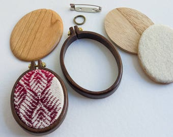NO laser Mini hoop embroidery frame KIT - Premium hardwood: walnut, maple or cherry - (MH4255-X) - 42 x 55 mm