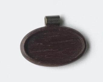 Pendant tray neatly finished hardwood - Walnut - 22 x 40 mm cavity - Brass Tube Bail - (A623c-W)