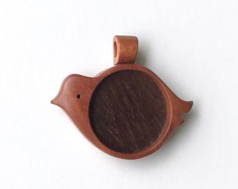 "Bird pendant tray fine finished hardwood - Cherry and Walnut - 1"" - 25.5 mm cavity - (X12-CW)"