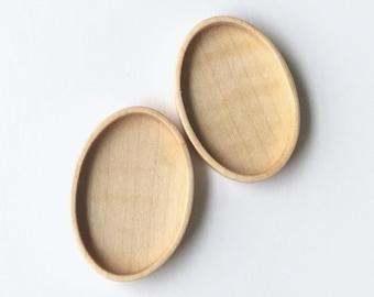 Fine finished hardwood bezel setting - Maple - 27 x 40 mm cavity- Set of 2 - (A63-Mp)