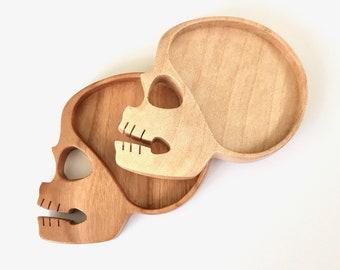 Skull brooch setting - Fine finished hardwood - (S10)
