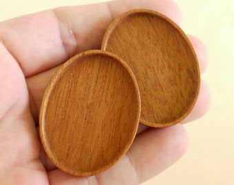 Top quality finished hardwood bezels - Various wood types - 30 x 40 mm cavity - (A2) - Set of 2