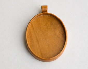 Large LIGHT pendant blank fine craftsmanship - Cherry - 36 x 46 mm cavity - (A1-C) - Organic bail