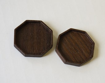 Octagonal bezel tray settings fine finished - Sailors Valentine - Walnut - 36 mm cavity diam. - (F83-W) - Set of 2