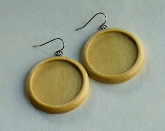 Very LIGHT Earring blank settings fine finished - Yellowheart - 30 mm cavity - (Z303c-Y) - Set of 2 - with French hooks