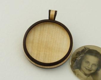 Pendant blank inlay work hardwood fine finished - Walnut and Maple - 35 mm Cavity - (Z353c-WMp) - Organic Bail