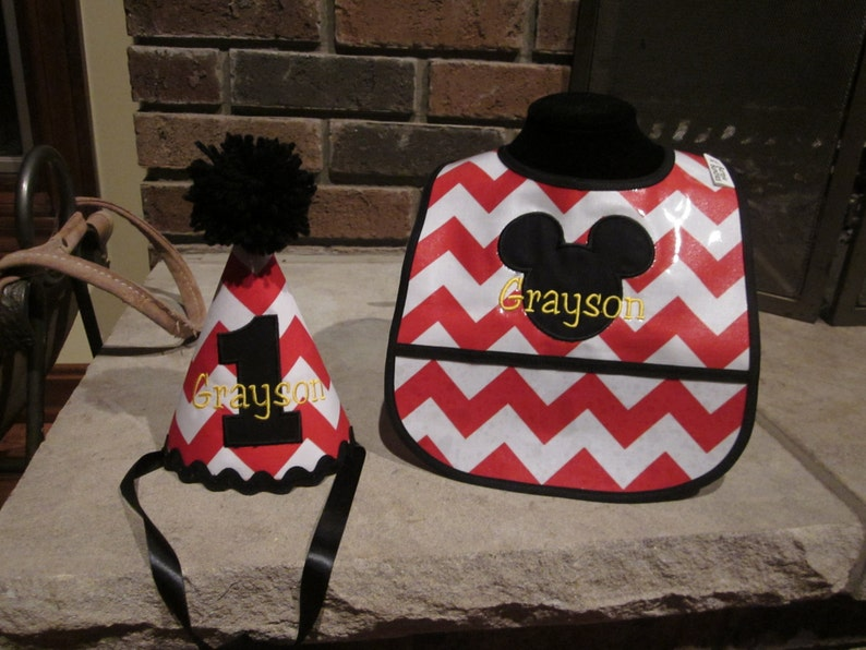 FIRST BIRTHDAY SET Birthday Hat And Matching Bib Mickey Mouse